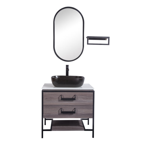 "30"" Single Vanity Cabinet Set, Floor Mount, Mirror and Black Ceramic Vessel Sink with Gloss White Glass Countertop, 2 Drawers and Shelf, ELM Finish, Harper Collection by DAX"