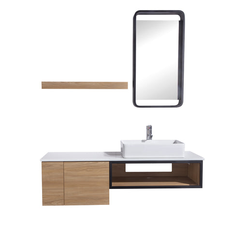 "48"" Single Vanity Cabinet Set, Wall Mount, Mirror and White Ceramic Vessel Sink with Gloss White Glass Countertop, Cabinet with Shelves, Ash Walnut Finish, Cita Collection by DAX"