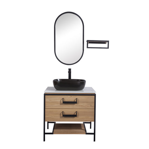 "30"" Single Vanity Cabinet Set, Floor Mount, Mirror and Black Ceramic Vessel Sink with Gloss White Glass Countertop, 2 Drawers and Shelf, Ash Finish, Harper Collection by DAX"