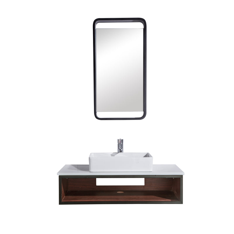 "36"" Single Vanity Cabinet Set, Wall Mount, Mirror and White Ceramic Vessel Sink with Gloss White Glass Countertop and Shelf, Black Walnut Finish, Citta Collection by DAX"