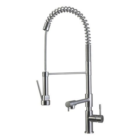 DAX Commercial Style Pull Down Kitchen Faucet with Double Spout, Swivel, Stainless Steel Body, Brushed Finish, Size 9 x 24-13/16 Inches (DAX-C001-05)