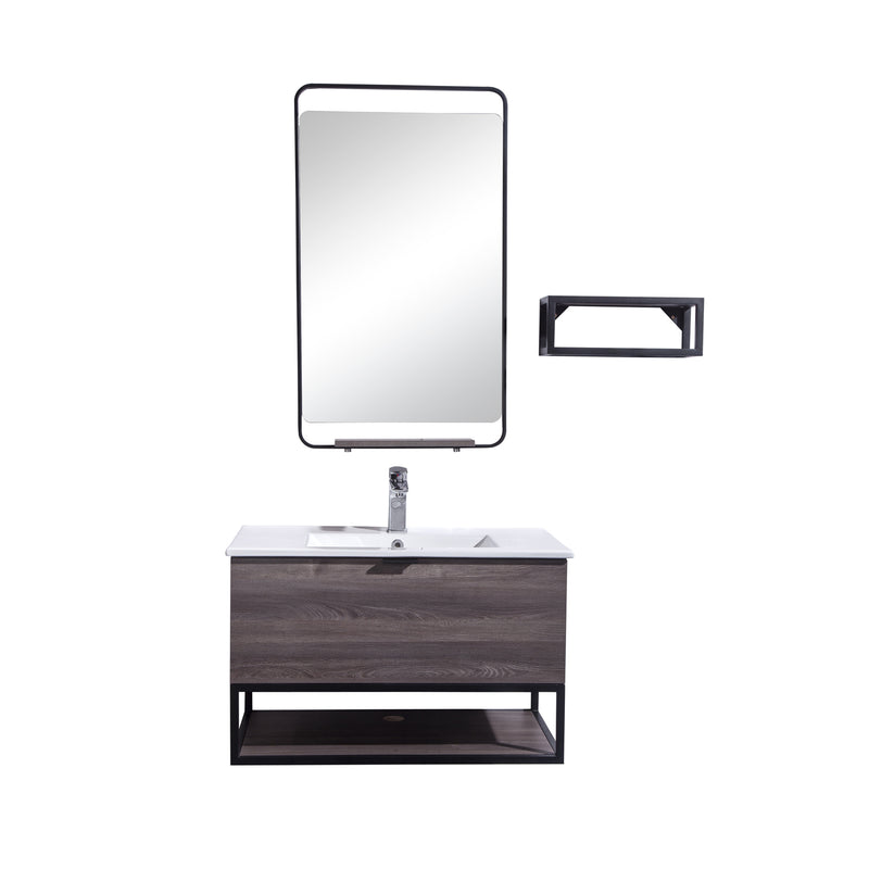 "32"" Single Vanity Cabinet Set, Wall Mount, Mirror and White Ceramic Sink with Glass Gloss White Ceramic Countertop, Drawer and Shelf, ELM Finish, Veneto Collection by DAX"