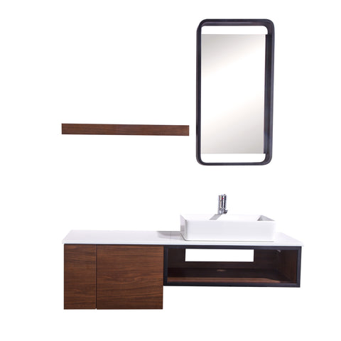 "48"" Single Vanity Cabinet Set, Wall Mount, Mirror and White Ceramic Vessel Sink with Gloss White Glass Countertop, Cabinet with Shelves, Black Walnut Finish, Cita Collection by DAX"