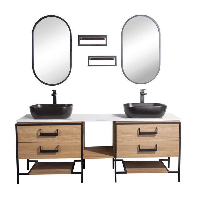"72"" Double Vanity Cabinet Set, Floor Mount, 2 Mirror and 2 Matt Black Ceramic Vessel Sink with Gloss White Glass Countertop, 4 Drawers and 2 Shelves, Ash Finish, Harper Collection by DAX"