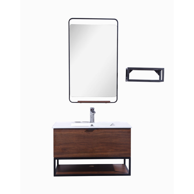 "32"" Single Vanity Cabinet Set, Wall Mount, Mirror and White Ceramic Sink with Glass Gloss White Ceramic Countertop, Drawer and Shelf, Black Walnut Finish, Veneto Collection by DAX"