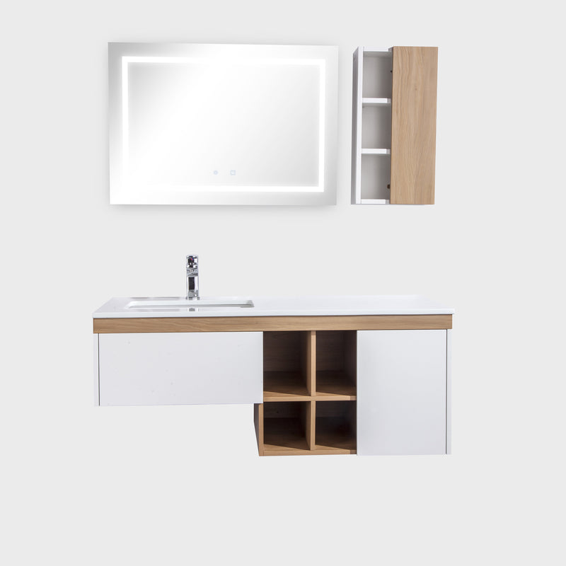 "48"" Single Vanity Cabinet Set, Wall Mount, LED Mirror and White Ceramic Sink with Gloss White Glass Countertop, Side Cabinet with Shelves, Ash Finish, Bali Collection by DAX"