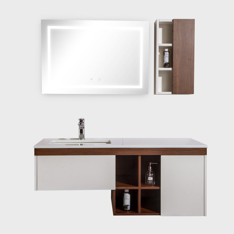 "48"" Single Vanity Cabinet Set, Wall Mount, LED Mirror and White Ceramic Sink with Gloss White Glass Countertop, Side Cabinet with Shelves, Black Walnut Finish, Bali Collection by DAX"