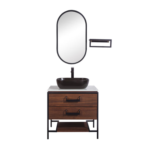 "30"" Single Vanity Cabinet Set, Floor Mount, Mirror and Black Ceramic Vessel Sink with Gloss White Glass Countertop, 2 Drawers and Shelf, Black Walnut Finish, Harper Collection by DAX"