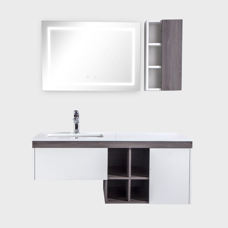 "48"" Single Vanity Cabinet Set, Wall Mount, LED Mirror and White Ceramic Sink with Gloss White Glass Countertop, Side Cabinet with Shelves, ELM Finish, Bali Collection by DAX"