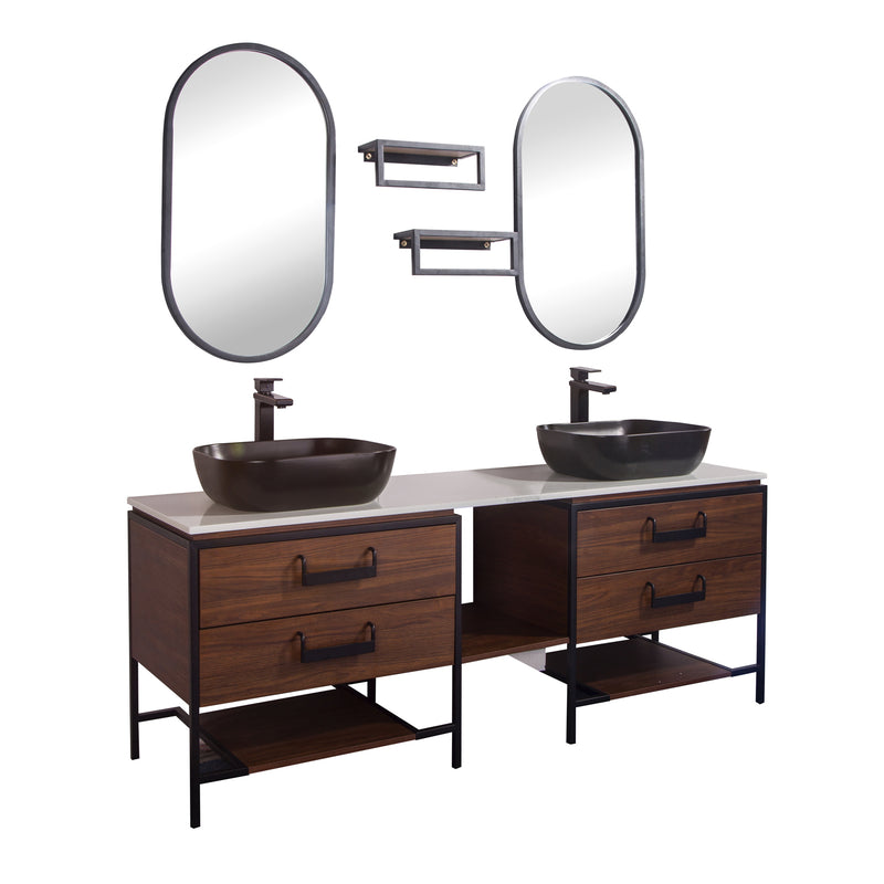 "72"" Double Vanity Cabinet Set, Floor Mount, 2 Mirror and 2 Matt Black Ceramic Vessel Sink with Gloss White Glass Countertop, 4 Drawers and 2 Shelves, Matt Black Walnut Finish, Harper Collection by DAX"