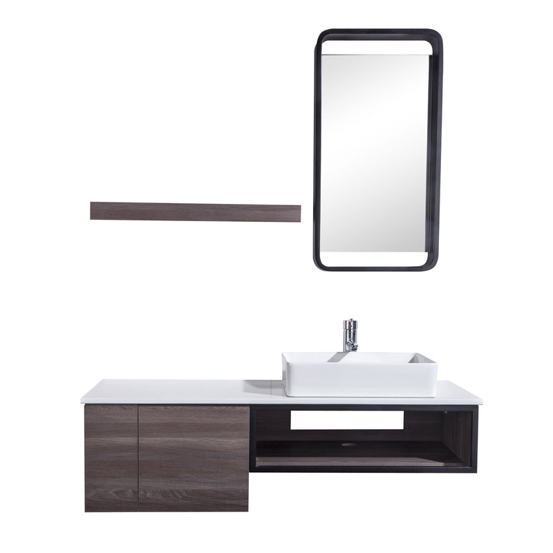 "48"" Single Vanity Cabinet Set, Wall Mount, Mirror and White Ceramic Vessel Sink with Gloss White Glass Countertop, Cabinet with Shelves, ELM Finish, Citta Collection by DAX"