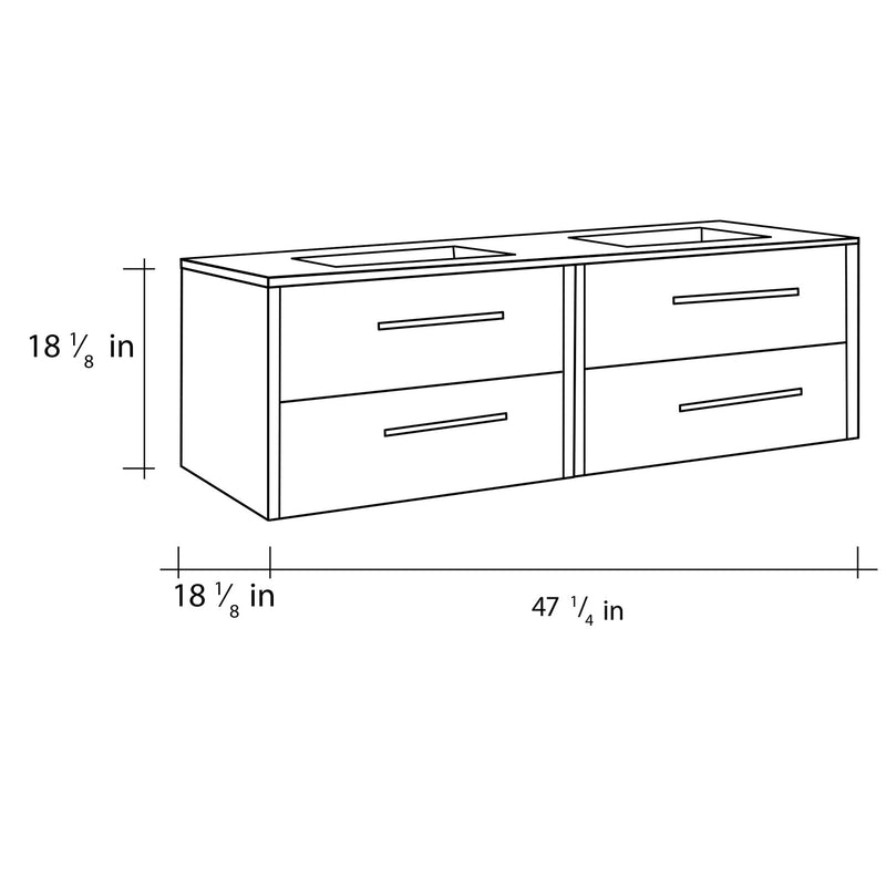 "48"" Double Vanity, Wall Mount, 4 Drawers with Soft Close, Moon, Serie Nova by VALENZUELA"
