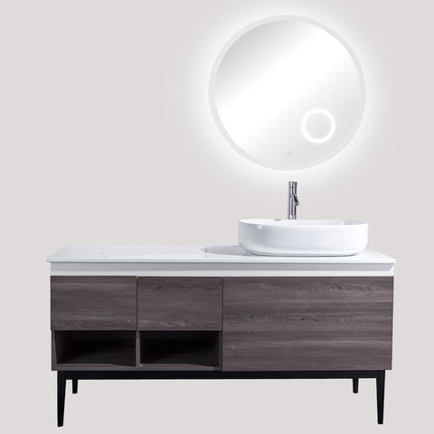 "60"" Single Vanity Cabinet Set, Flour Mount, 3X LED Mirror, White Ceramic Vessel Sink with Gloss White Glass Countertop, 2 Drawers and 4 Shelves, ELM Finish, Monaco Collection by DAX"