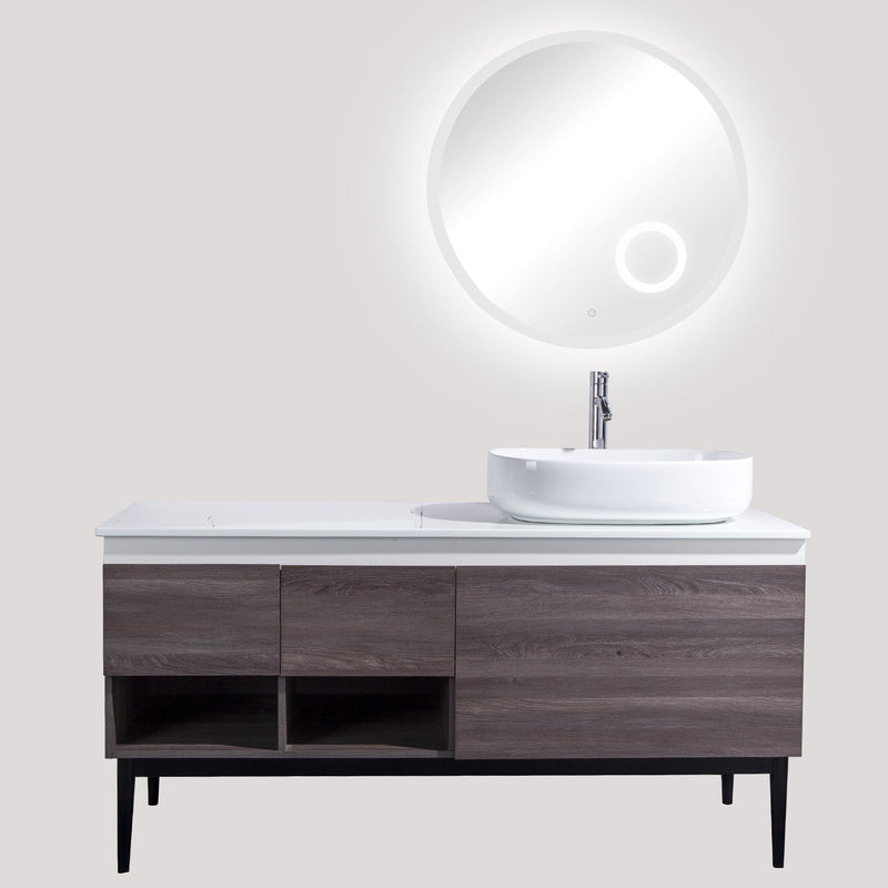 "60"" Single Vanity Cabinet Set, Floor Mount, 3X LED Mirror, White Ceramic Vessel Sink with Gloss White Glass Countertop, 2 Drawers and 4 Shelves, ELM Finish, Monaco Collection by DAX"