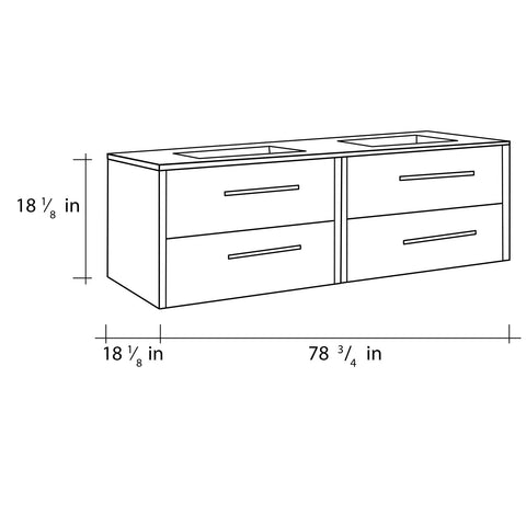 "80"" Double Vanity, Wall Mount, 4 Drawers with Soft Close, Moon - White, Serie Nova by VALENZUELA"