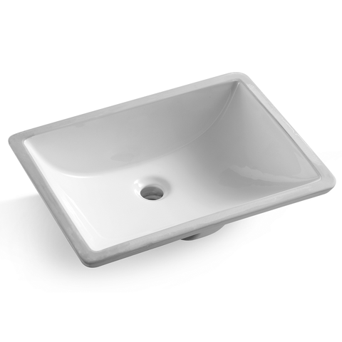 "DAX Ceramic Square Undermount Bathroom Basin - 18""x13"" (BSN-202M-W)"