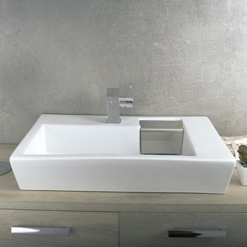 DAX Ceramic Rectangle Single Bowl Bathroom Vessel Sink, White Finish,  20-1/8 x 17-2/8 x 6 Inches (BSN-252A)