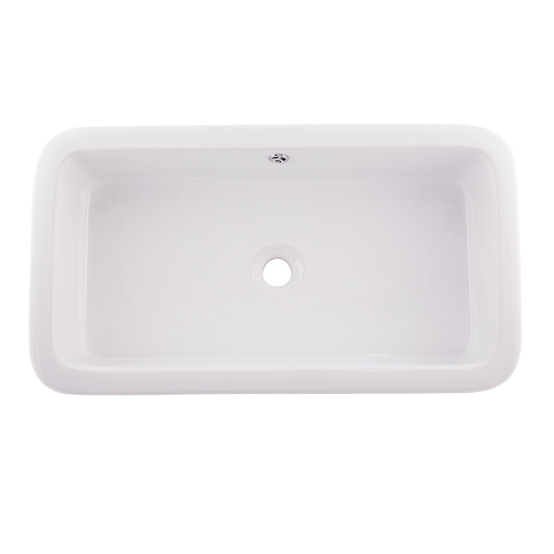 DAX Ceramic Rectangle Single Bowl Bathroom Vessel Sink, White Finish,  27 x 14-3/4 x 6-3/4 Inches (BSN-285G)