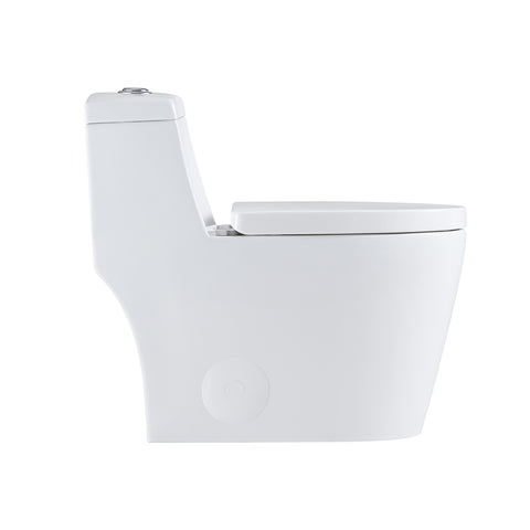 DAX One Piece Elongated Toilet with Soft Closing Seat and Dual Flush High-Efficiency, Porcelain, White Finish, Height 26-7/16 Inches (BSN-80)