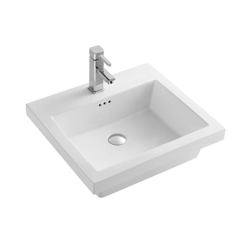 DAX Ceramic Rectangle Single Bowl Bathroom Vessel Sink, White Finish,  21-1/2 x 19-1/2 x 6-7/8 Inches (BSN-CL1241)
