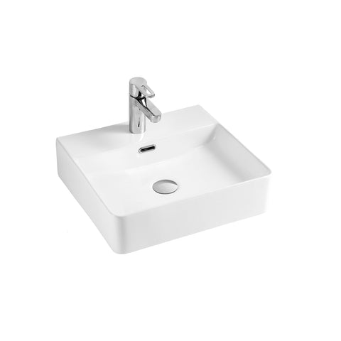 DAX  Ceramic Square Single Bowl Bathroom Vessel Basin (BSN-CL1274)