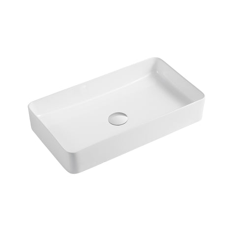 DAX Ceramic Rectangle Single Bowl Bathroom Vessel Sink, White Finish,  24 x 13-9/16 x 4-5/16 Inches (BSN-CL1320)