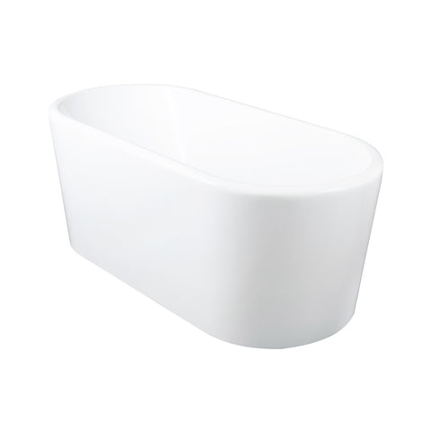 DAX Oval Freestanding High Gloss Acrylic Bathtub with Central Drain and Overflow, Stainless Steel Frame, 59-1/16 x 22-13/16 x 27-9/16 Inches (BT-8062)