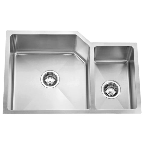 DAX Handmade 70/30 Double Bowl Undermount Kitchen Sink, 16 Gauge Stainless Steel, Brushed Finish, 30 x 18 x 9 Inches (DAX-3020B)