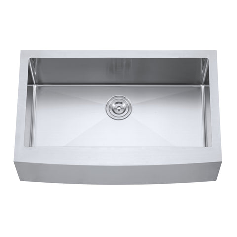 DAX Farmhouse Single Bowl Kitchen Sink, 18 Gauge Stainless Steel, Brushed Finish, 30 x 21 x 10 Inches (DAX-3021R10)