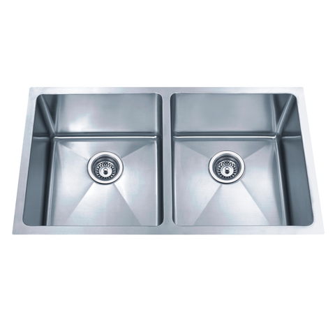 DAX Double Bowl Undermount Kitchen Sink, 18 Gauge Stainless Steel, Brushed Finish , 32 x 19 x 9 Inches (DAX-3118B-X)