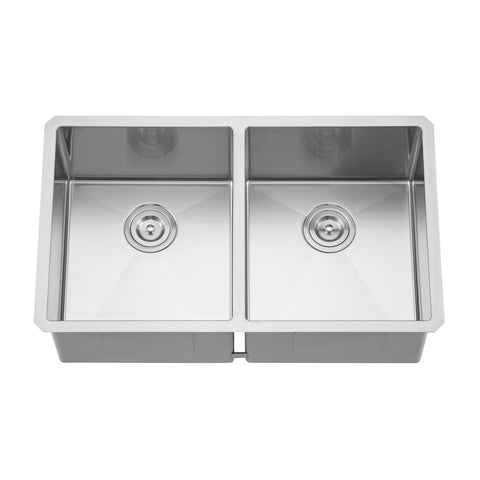 DAX Handmade 50/50 Double Bowl Undermount Kitchen Sink, 18 Gauge Stainless Steel, Brushed Finish, 32 x 19 x 10 Inches (DAX-3219ER10)