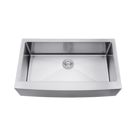 DAX Farmhouse Single Bowl Kitchen Sink, 18 Gauge Stainless Steel, Brushed Stainless Steel Finish, 36 x 21 x 10 Inches (DAX-3621R10)