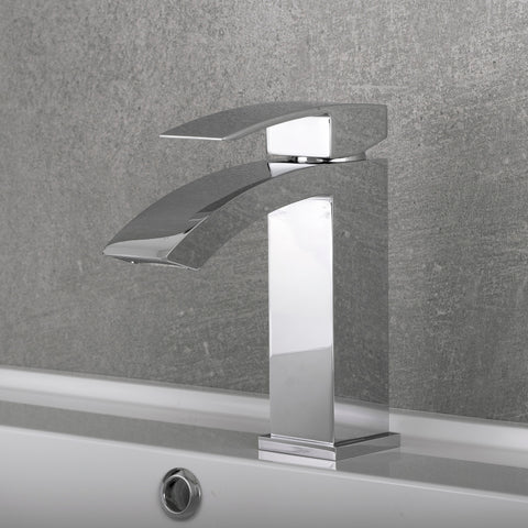 DAX Single Handle Waterfall Bathroom Faucet, Brass Body, Chrome Finish, 4-7/8 x 7 Inches (DAX-6690A-CR)