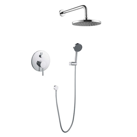 DAX Bathroom Rain Mixer Shower, Round Rainfall Shower Head System with Shower Trim and Hand Shower, Wall Mount, Brushed Nickel Finish (DAX-6813-BN)