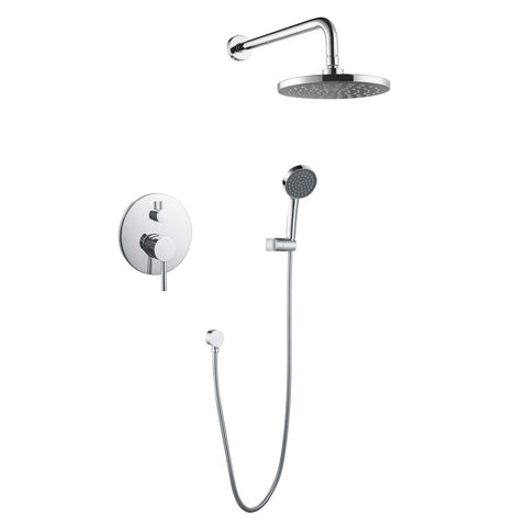 DAX Bathroom Rain Mixer Shower, Round Rainfall Shower Head System with Shower Trim and Hand Shower, Wall Mount, Chrome Finish (DAX-6813-CR)