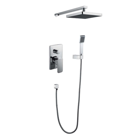 DAX Bathroom Rain Mixer Shower, Square Rainfall Shower Head System with Shower Trim and Hand Shower, Wall Mount, Chrome Finish (DAX-6813B-CR)