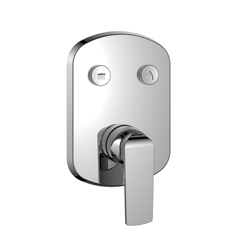 DAX Square Shower Single Valve Trim with 2 Setting Shower Functions, Brass Body, Chrome Finish (DAX-7303-CR)