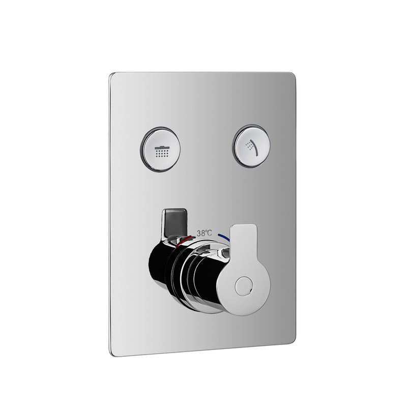 DAX Square Shower Single Valve Trim with 2 Setting Shower Functions, Brass Body, Brushed Nickel Finish (DAX-7303A-BN)