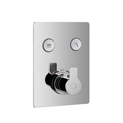 DAX Square Shower Single Valve Trim with 2 Setting Shower Functions, Brass Body, Chrome Finish (DAX-7303A-CR)