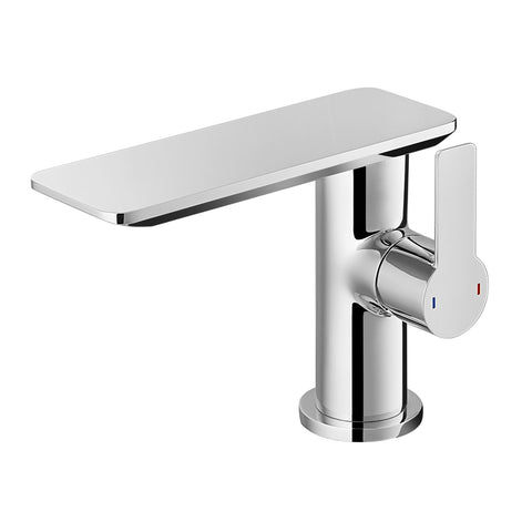 DAX Single Handle Bathroom Waterfall Faucet, Deck Mount, Brass Body, Brushed Nickel Finish, Spout Height 4-15/16 Inches (DAX-8205-BN)