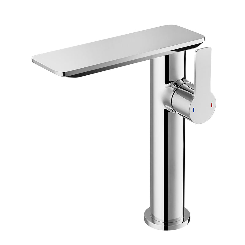 DAX Single Handle Bathroom Waterfall Vessel Sink Faucet, Deck Mount, Brass Body, Brushed Nickel Finish, Spout Height 8-1/16 Inches (DAX-8205A-BN)