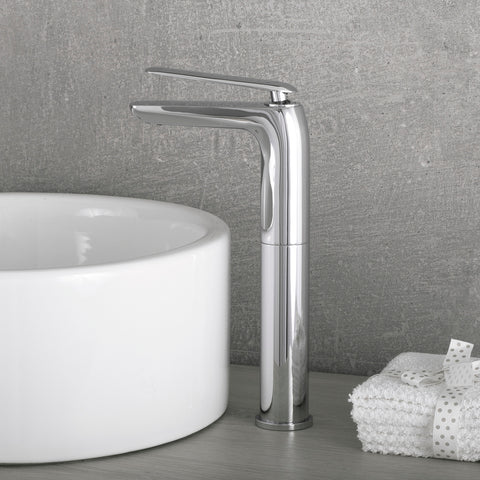 DAX Single Handle Vessel Sink Bathroom Faucet, Brass Body, Chrome Finish, 4-3/4 x 12-3/8 Inches (DAX-8206B)