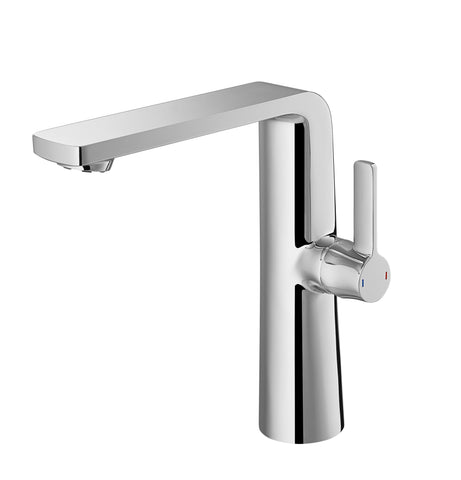 DAX Single Handle Bathroom Vessel Sink Faucet, Brass Body, Brushed Nickel Finish, Spout Height 8-1/16 Inches (DAX-8226A-BN)
