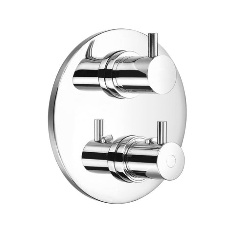 DAX Round Shower Dual Valve Trim, Brass Body, Brushed Nickel Finish (DAX-8302619-BN)