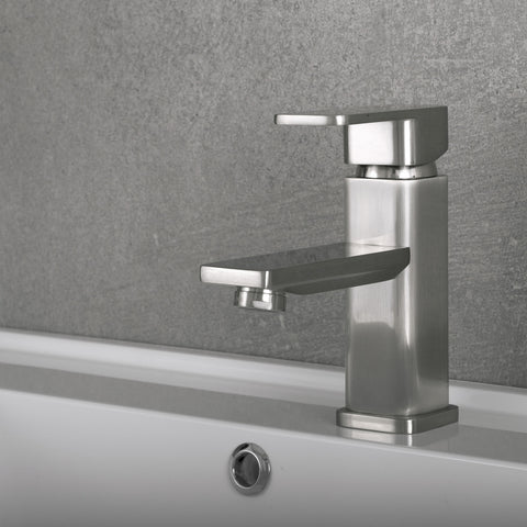 DAX Single Handle Bathroom Faucet, Brass Body, Brushed Finish, 5-15/16 x 6-1/8 Inches (DAX-8510-BN)
