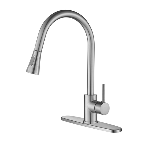 DAX Single Handle Pull Down Kitchen Faucet with Dual Sprayer and Deck Plate, Brushed Nickel Finish (DAX-8880)