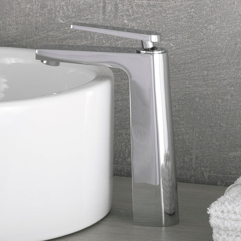 DAX Single Handle Vessel Sink Bathroom Faucet, Brass Body, Chrome Finish, 4-1/16 x 9-1/16 Inches (DAX-9802A)