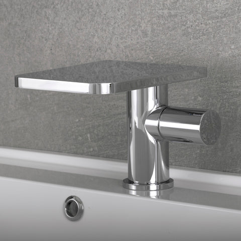 DAX Single Handle Waterfall Bathroom Faucet, Brass Body, Chrome Finish, 5-5/16 x 4-5/16 Inches (DAX-9888)