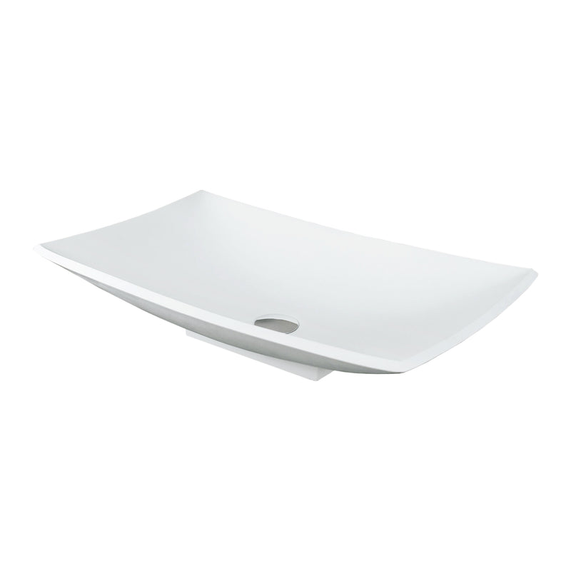 DAX Solid Surface Rectangle Single Bowl Bathroom Vessel Sink, White Matte Finish, 25-2/5 x 15-3/8 x 5-3/4 Inches (DAX-AB-1325)