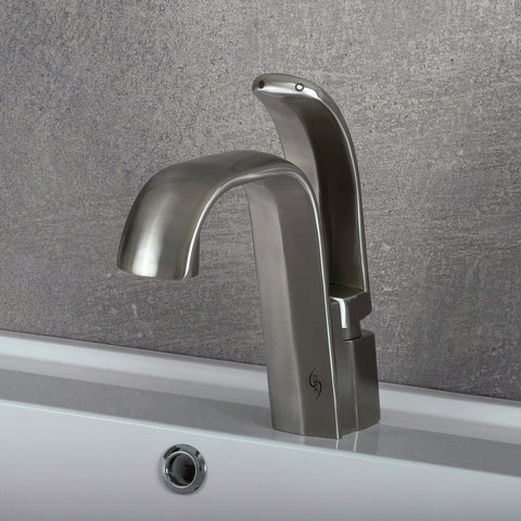 DAX Single Handle Vessel Sink Bathroom Faucet, Stainless Steel Body, Brushed Finish, 8-7/16 x 7-11/16 Inches (DAX-C011-02)